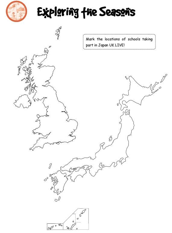 Japan UK Live Teaching Resources - Japan map activity